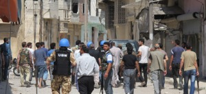 UNSMIS military observers inspecting a residential area at Talbisah area in Homs city, Syria, 11 June 2012. Source: UN Photo/David Manyua