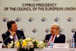 Cyprus President Dimitris Christofias, right, and European Commission President Jose Manuel Barroso speak during a press conference following a meeting between Cyprus government officials and EU leaders in Nicosia, Cyprus, Friday, July 6, 2012. Cyprus took over the six-month, rotating EU Presidency from Denmark on July 1st, 2012. Photo: Philippos Christou / AP