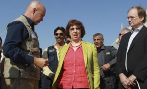 European High Representative Catherine Ashton listens to UNHCR representative to Jordan Andrew Harper (L) during her visit at the Al Zaatri refugee camp in Mafraq, near the Jordanian border with Syria on Monday. Source: Reuters.