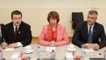 Kosovo's Prime Minister Hashim Thaci and Serbia's leader Ivica Dacic with EU's High Representative Catherine Ashton. Source: The Economist