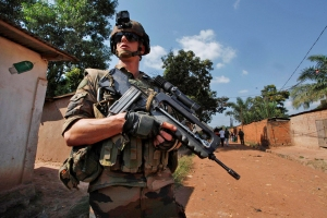 A French soldier patrols in Bangui (Reuters)